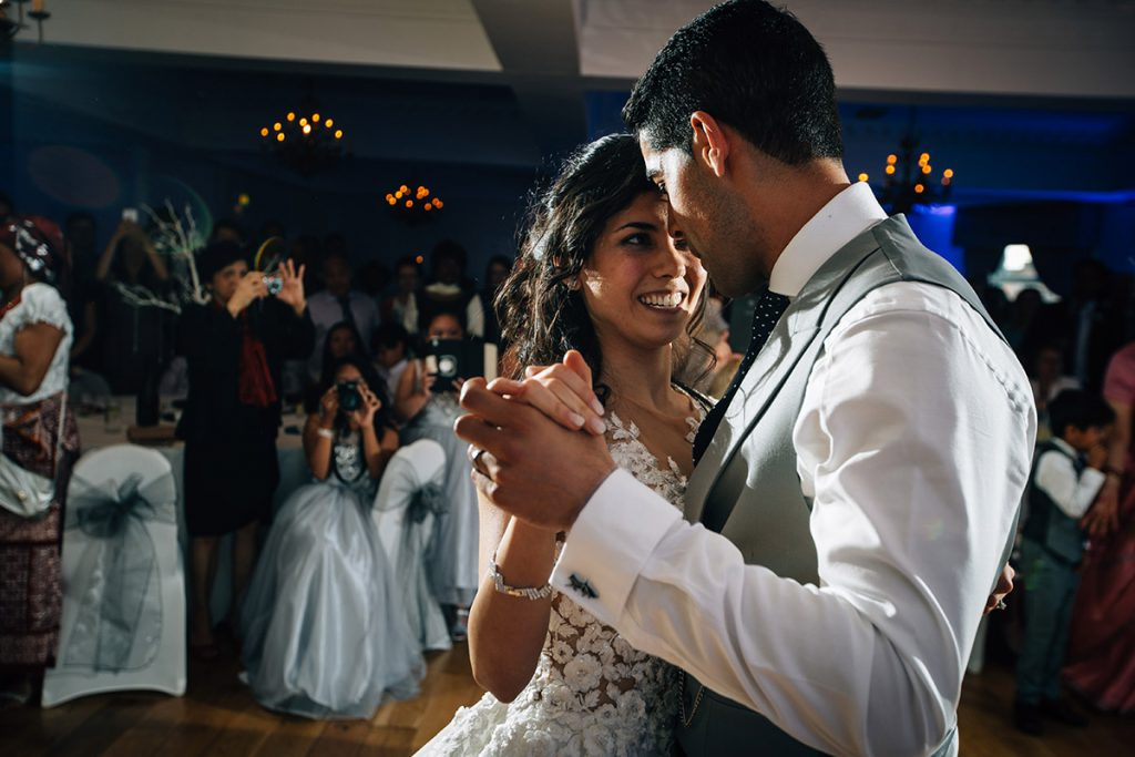 St James Hotel Indian Wedding Photography Nottinghamshire Bride & Groom dancing 0096
