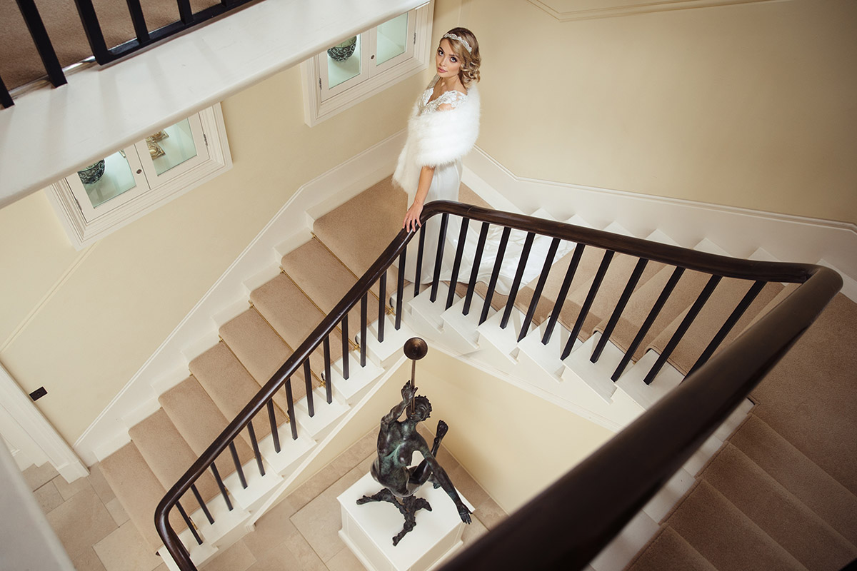 Stancliffe Hall Nottingham Wedding Photography Bride on stairs 0012