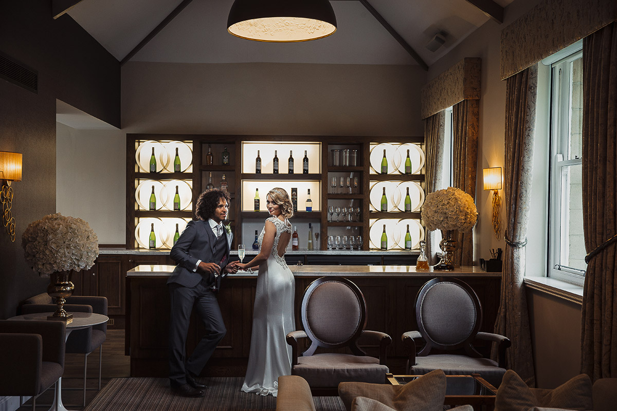 Stancliffe Hall Nottingham Wedding Photography Bride & Groom Bar 0016