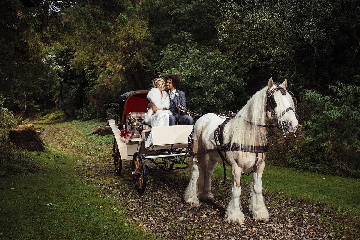 Stancliffe Hall Nottingham Wedding Photography Bride & Groom Horse & Cart 0018