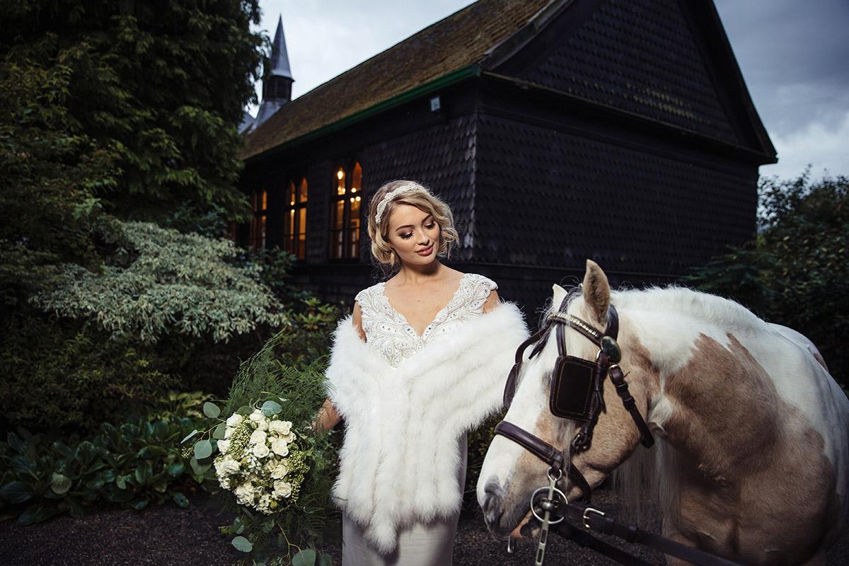 Stancliffe Hall Nottingham Wedding Photography Bride & Horse 0019