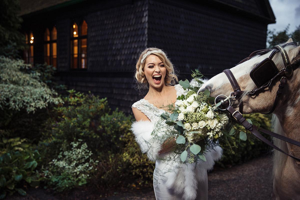 Stancliffe Hall Nottingham Wedding Photography Bride & Horse 0020