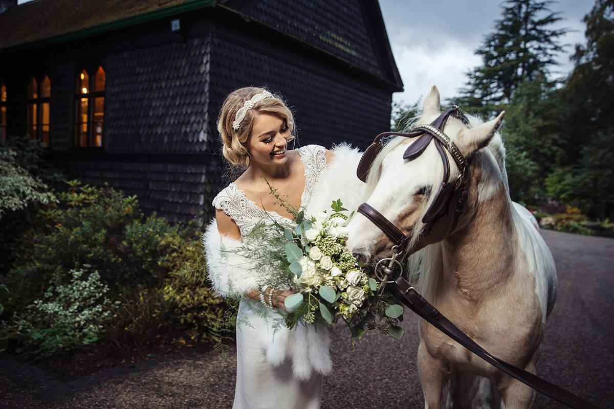 Stancliffe Hall Nottingham Wedding Photography Bride & Horse 0021