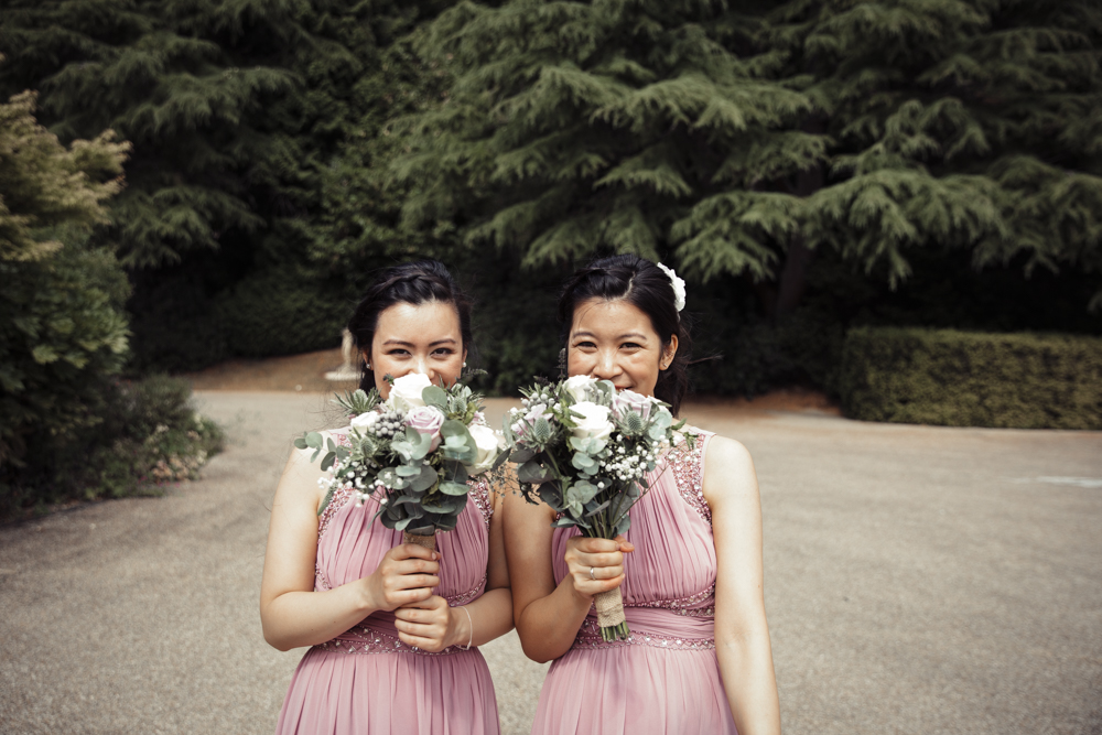 bridesmaid dress and flowers