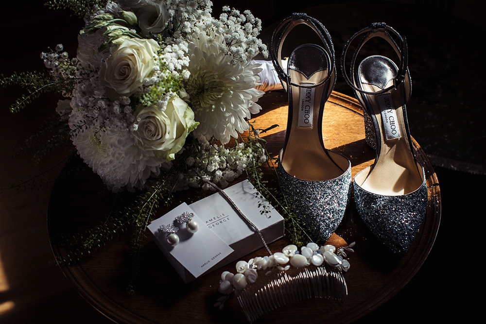 Jimmy Choo blue wedding shoes