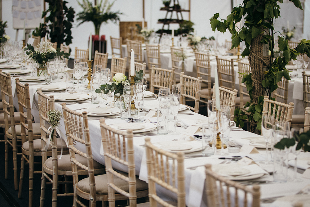 locate-to-create-wedding-decoration in a marquee wedding at Hertfordshire